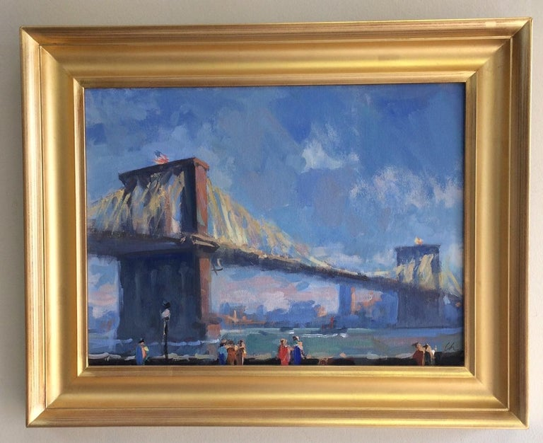 Lee Haber Landscape Painting - Golden Hour Brooklyn Bridge, original impressionist landscape