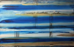 Bronze Marine Gold Blue Diffused, original 48x72 abstract acrylic painting