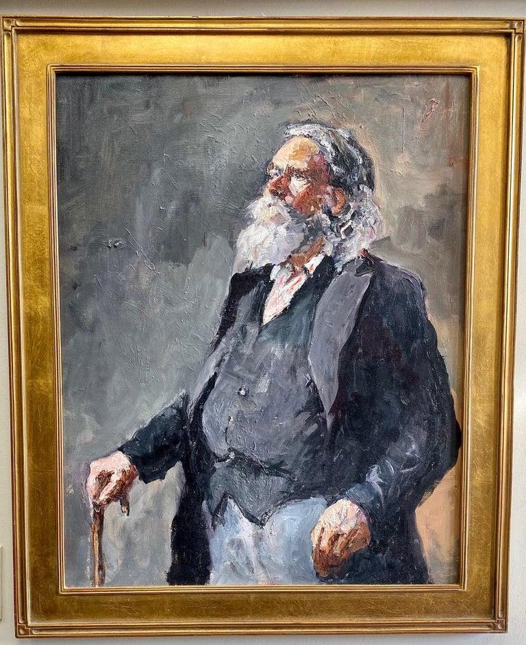 Ellen Morozowski Portrait Painting - Santa Claus, original 30x24 impressionist portrait