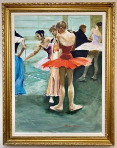 Ballerina in Red, original 40x30 French Impressionist interior landscape