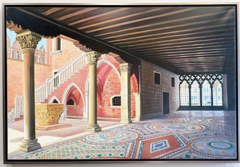 Joseph Genova Landscape Painting - Ca d'Oro, original 28x42 realistic Italian interior landscape