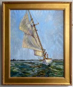 Sailing Bayside, original 30x24 impressionist marine landscape