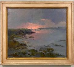 Pink Skies, original 30x36 marine landscape