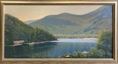 Vermont Lake, original 18x36 impressionist landscape