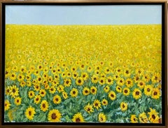 Field of Sunflowers, original 30x40 expressionist landscape