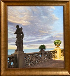 Evening at Lake Como, original 28x26 realistic Italian marine landsscape