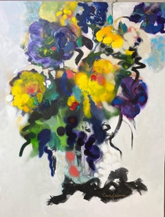 Wild Flowers II, original 40x30 abstract impressionist still life