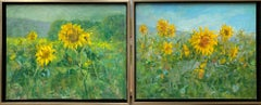 Sunflowers, original 25x62 diptych contemporary impressionist landscape