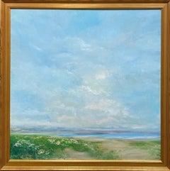 White Statice by the Sea, original 36x36 contemporary marine landscape