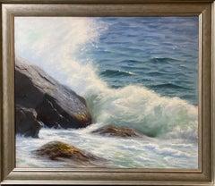 Roaring Waters, original 30x36 impressionist marine landscape