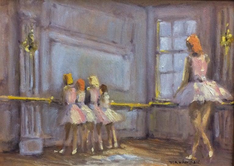 The  Dancers, original French impressionist figurative landscape - Painting by Robert Waltsak