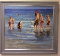 Afternoon at the Shore,  original 40x36 figurative marine landscape