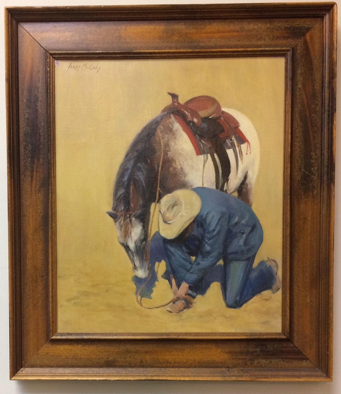 Fixing the Spur, original 24x20 southwestern figurative impressionist landscape