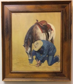 Fixing the Spur, original southwestern figurative oil painting