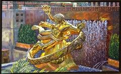 Rockefeller Gold, original 36x60 expressionist contemporary landscape