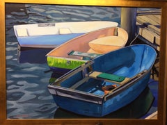 Three Dinghies, original 36x48 contemporary landscape