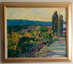 Vineyard and Farmhouse, Provence, original French impressionist landscape