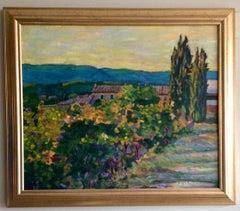 Vineyard and Farmhouse, Provence, original French impressionist landscape