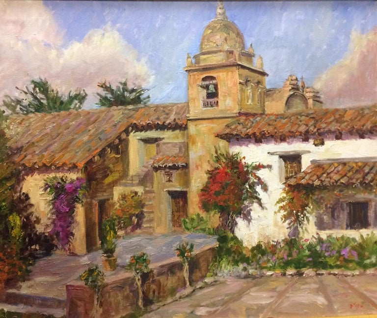 The Mission at Carmel,  California, original impressionist landscape  - Painting by Doreen Tighe