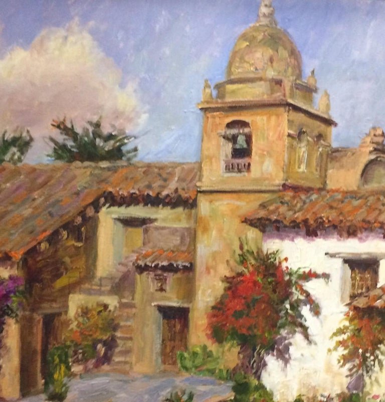 The Mission at Carmel,  California, original impressionist landscape  - Impressionist Painting by Doreen Tighe