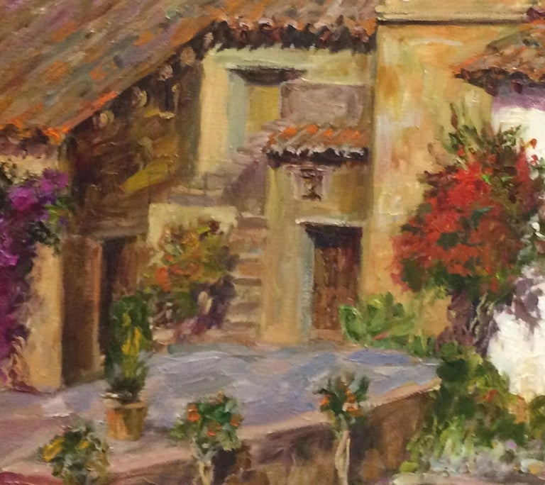 The Mission at Carmel,  California, original impressionist landscape  - Brown Landscape Painting by Doreen Tighe