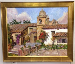 The Mission at Carmel,  California, original impressionist landscape