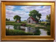 The Horse Barn, original 24x36 realistic landscape