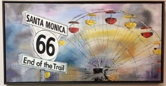 End of the Trail, Santa Monica, original 24x48 contemporary pop art landscape