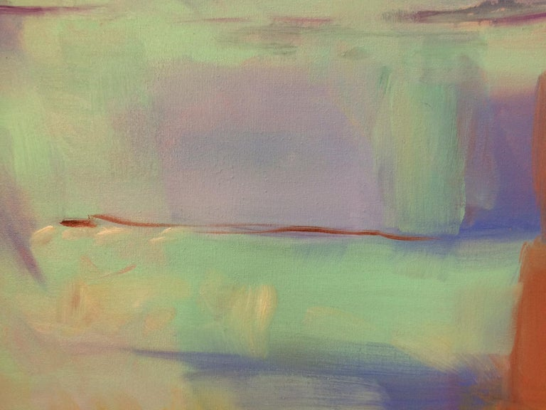 Morning Flight, original abstract oil painting - Gray Abstract Painting by Donna M. Grande
