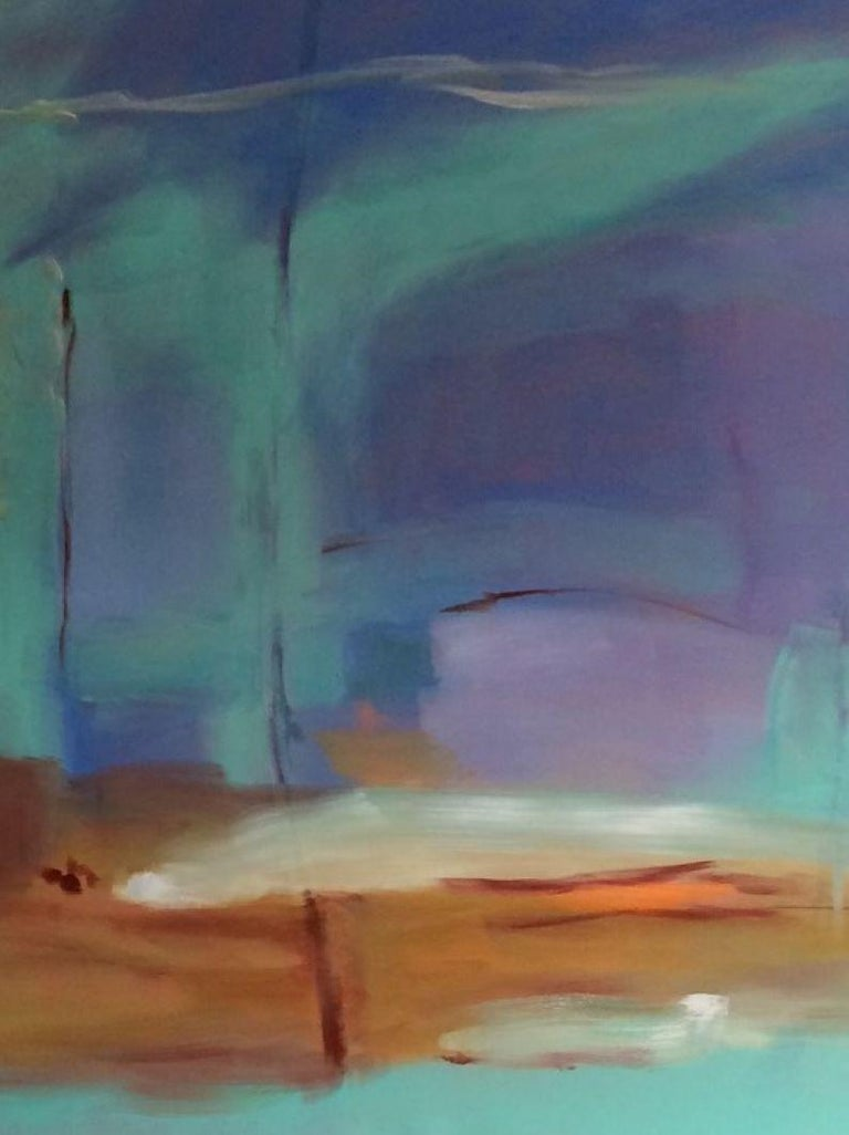 The beauty of a fresh morning abstracted into vibrant shades of blue green, purples and royal blue warmed by a golden rust.  They form interconnecting levels and shapes through which the original oil painting comes to life.  Artist Donna M. Grande