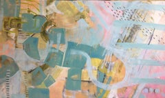 The Future is Already Here, original 36x60 abstract oil painting with cold wax