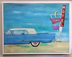 Old Thunderbird, original 30x40 pop art contemporary landscape