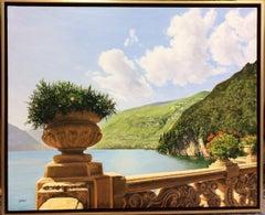 View from Villa Balbaniello,  original 30x40 realistic Italian landscape