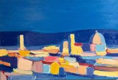 Cityscape, Florence, original 24x36 abstract contemporary Italian landscape