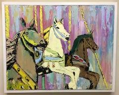 Asbury Park Carousel Horses,  original pop art landscape