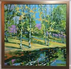 Riverbank Birches, original 36x36 abstract expressionist landscape