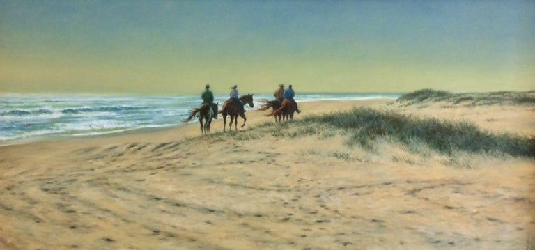 Beach Riders, original 24x48 realistic landscape  - Painting by Barry DeBaun