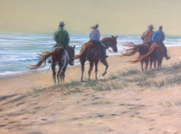 Beach Riders, original 24x48 realistic landscape  - Realist Painting by Barry DeBaun