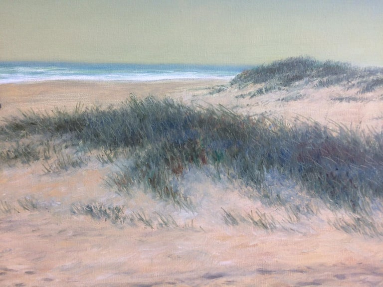 Beach Riders, original 24x48 realistic landscape  - Brown Landscape Painting by Barry DeBaun