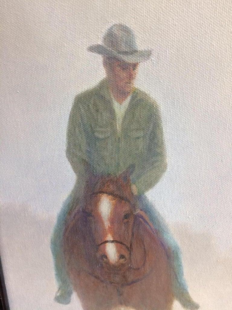 The Horsemen, original 40x30 realistic equestrian landscape - Beige Landscape Painting by Barry DeBaun