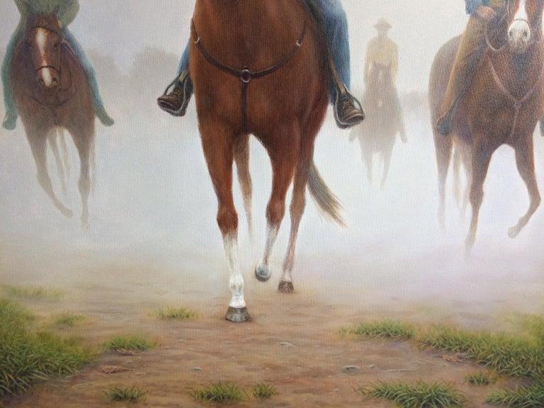 The Horsemen, original 40x30 realistic equestrian landscape - Realist Painting by Barry DeBaun