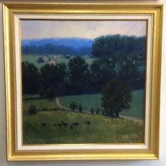 Twilight, original 36x36 impressionist landscape