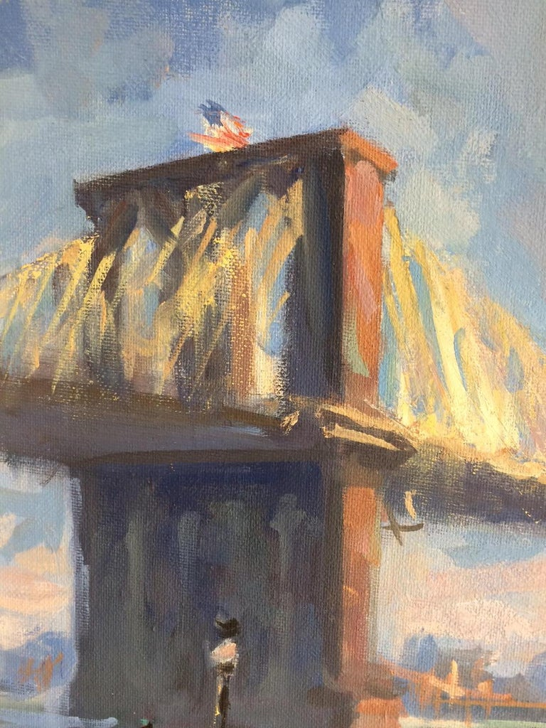 Golden Hour Brooklyn Bridge, original impressionist landscape - Gray Landscape Painting by Lee Haber