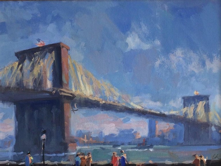 Golden Hour Brooklyn Bridge, original impressionist landscape - Painting by Lee Haber