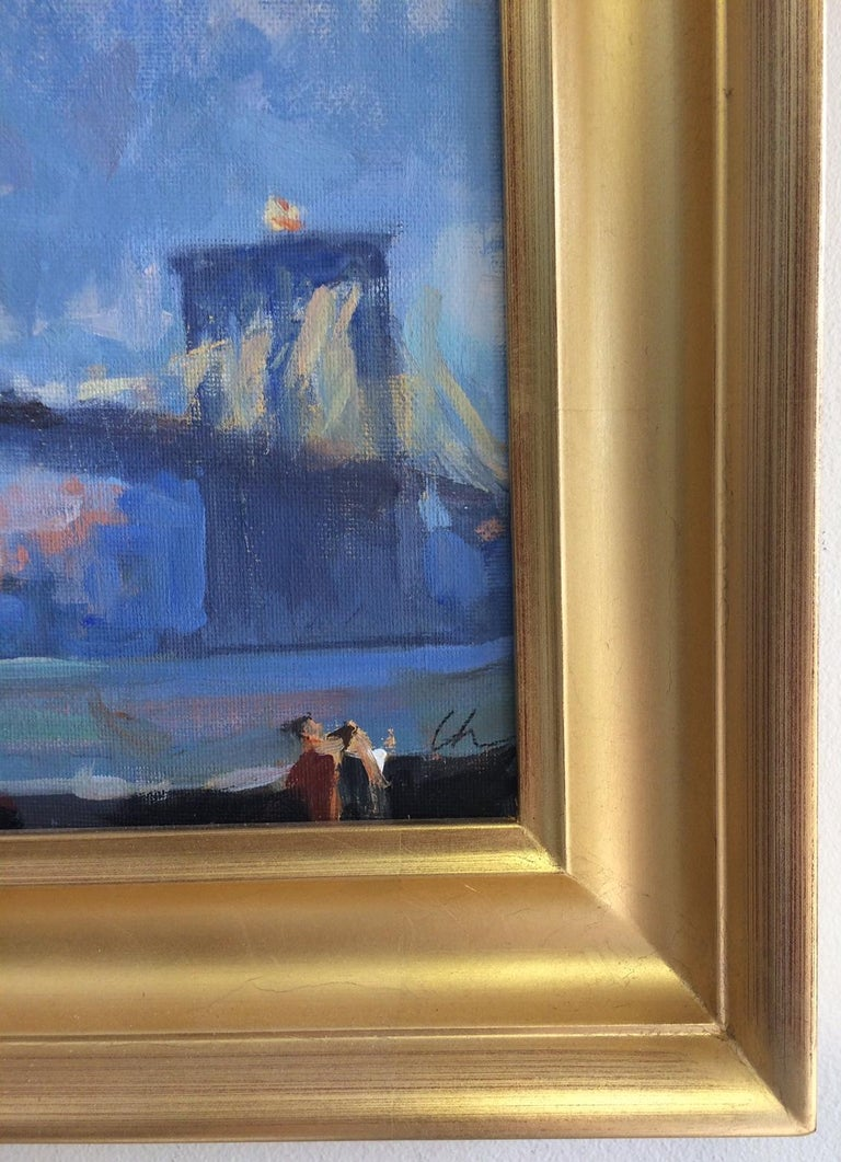 Golden Hour Brooklyn Bridge, original impressionist landscape For Sale 1
