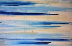Sky Marine Titanium Pearl, 48x72 original abstract acrylic painting