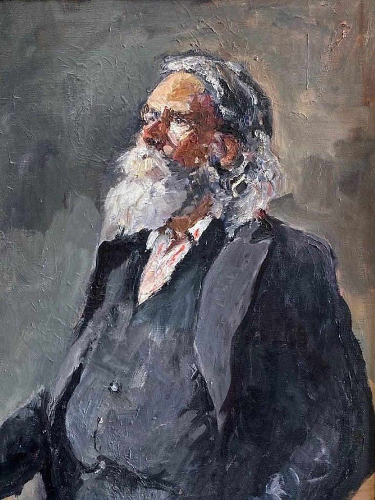 Santa Claus, original 30x24 impressionist portrait - Painting by Ellen Morozowski