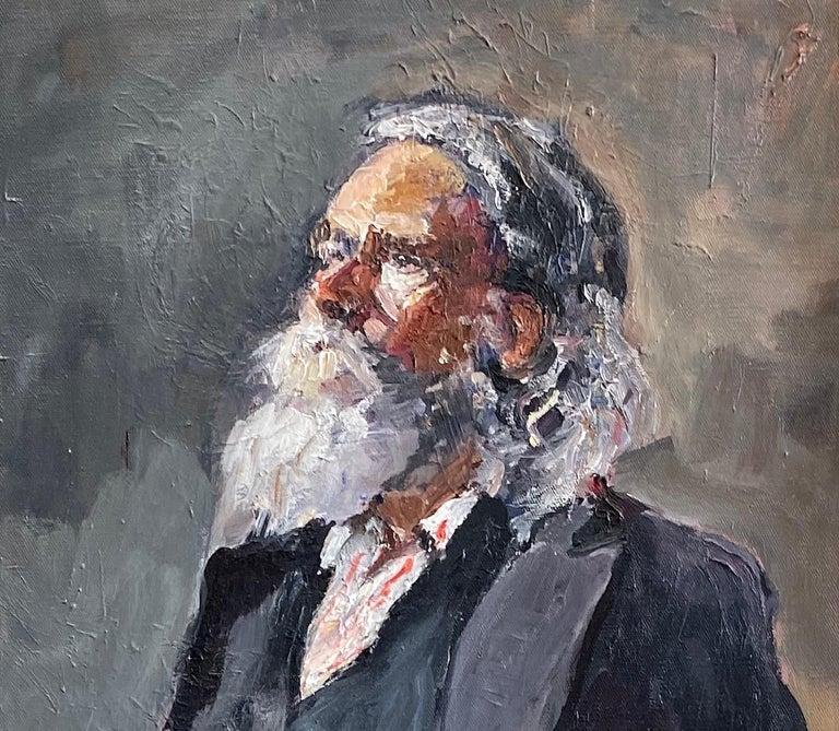 Santa Claus, original 30x24 impressionist portrait - Impressionist Painting by Ellen Morozowski