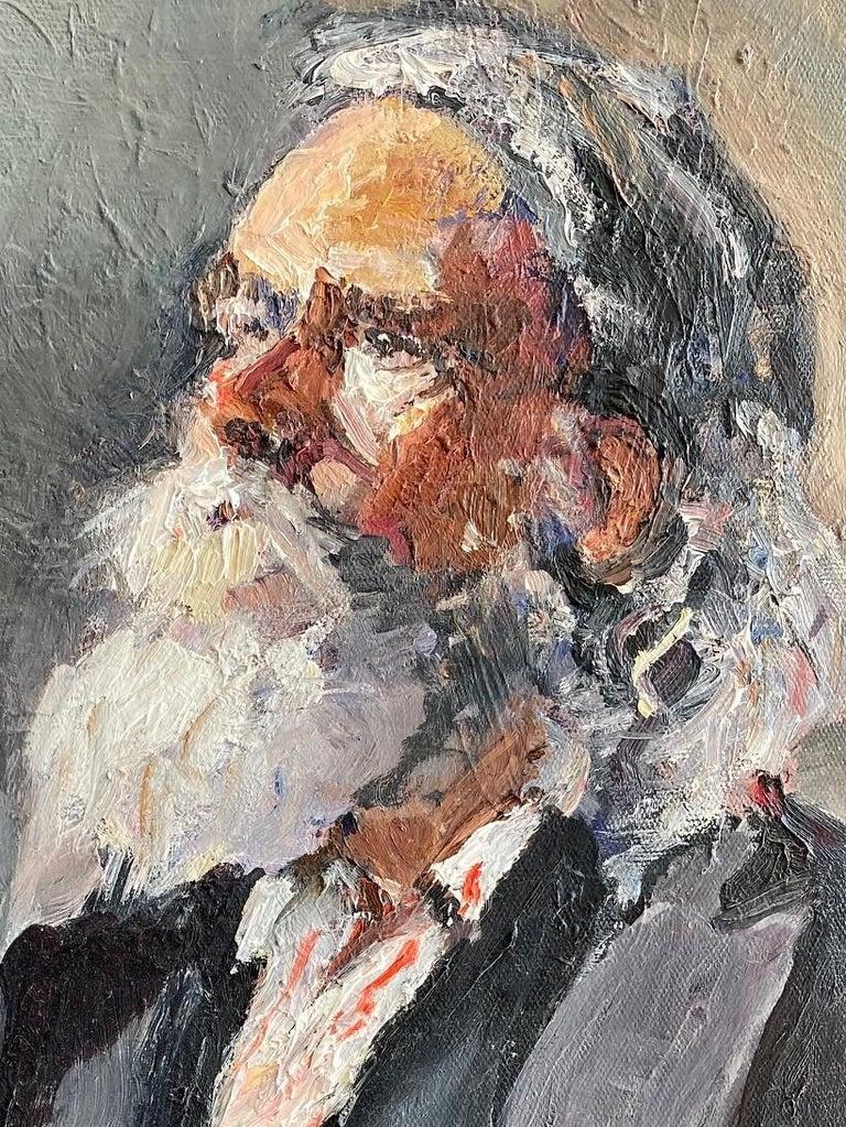 Santa Claus, original 30x24 impressionist portrait - Brown Portrait Painting by Ellen Morozowski