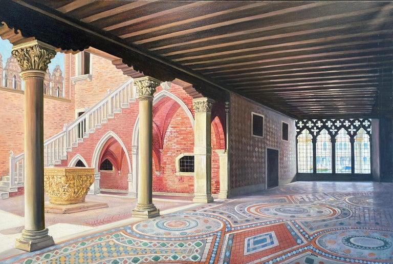 Ca d'Oro, original 28x42 realistic Italian interior landscape - Painting by Joseph Genova
